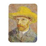 Van Gogh Self Portrait with Straw Hat Rectangular Photo Magnet