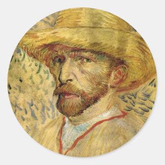 Van Gogh; Self Portrait with Straw Hat Stickers