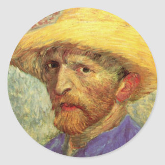 Van Gogh; Self Portrait with Straw Hat Sticker