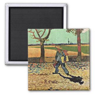 Van Gogh: Selfportrait en el camino Tarascon Imán Cuadrado