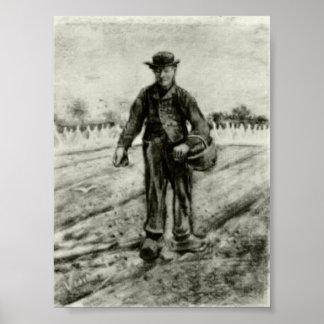 Van Gogh - sembrador con la cesta Impresiones