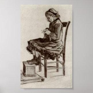 Van Gogh - sentada del chica, haciendo punto Póster