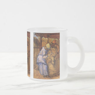 Van Gogh; Sheep Shearers, Vintage Impressionism 10 Oz Frosted Glass Coffee Mug