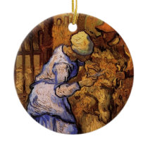 Van Gogh; Sheep Shearers, Vintage Impressionism Ceramic Ornament