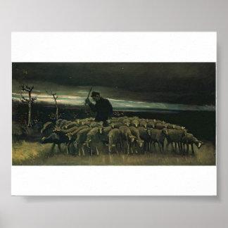 Van Gogh - Shepherd with a Flock of Sheep Poster