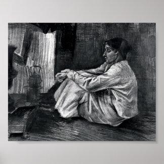 Van Gogh - Sien with Cigar Sitting on the Floor Poster