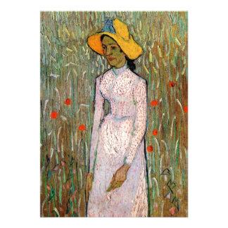 Van Gogh, situación de la chica joven; Fondo del t Invitaciones Personalizada