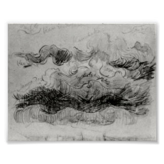 Van Gogh- Sketch of Clouds with Colour Annotations Poster