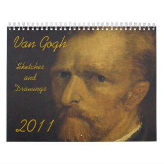 Van Gogh, Sketches and Drawings, 2011 Calendar