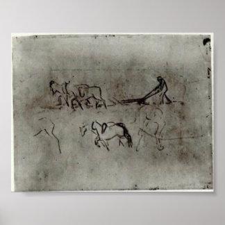 Van Gogh - Sketches of Peasant Plowing with Horses Print