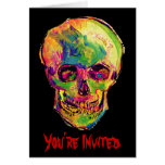 Van Gogh Skull Halloween Party Invitation Cards
