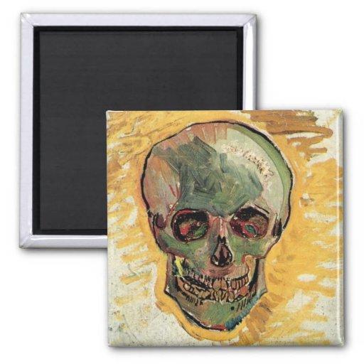 Van Gogh Skull, Vintage Impressionism Still Life Refrigerator Magnets