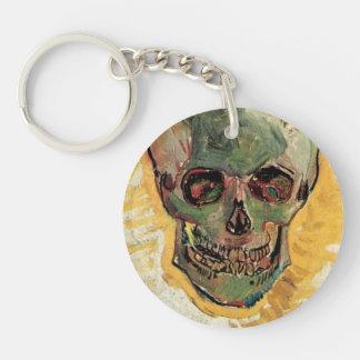 Van Gogh Skull, Vintage Still Life Impressionism Keychain