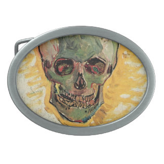 Van Gogh Skull, Vintage Still Life Impressionism Oval Belt Buckle