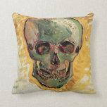 Van Gogh Skull, Vintage Still Life Impressionism Throw Pillow