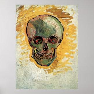 Van Gogh Skull, Vintage Still Life Impressionism Poster