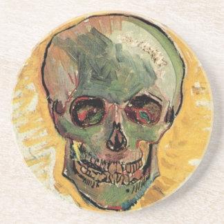 Van Gogh Skull, Vintage Still Life Impressionism Sandstone Coaster
