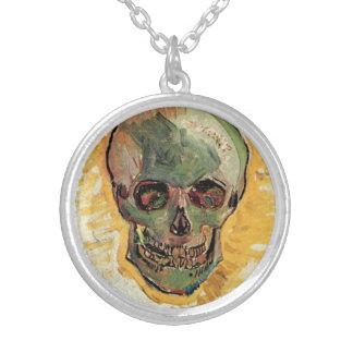 Van Gogh Skull, Vintage Still Life Impressionism Silver Plated Necklace