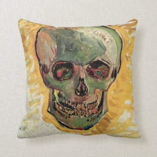 Van Gogh Skull, Vintage Still Life Impressionism Throw Pillow
