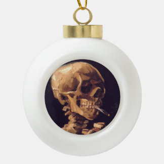 Van Gogh: Skull with Burning Cigaret Ceramic Ball Christmas Ornament