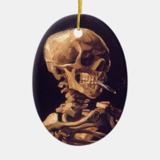 Van Gogh: Skull with Burning Cigaret Ceramic Ornament