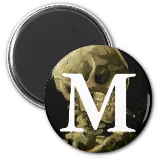Van Gogh | Skull with Burning Cigarette | 1886 2 Inch Round Magnet