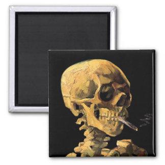 Van Gogh - Skull With Burning Cigarette 2 Inch Square Magnet