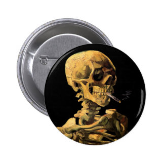 Van Gogh Skull With Burning Cigarette Pin
