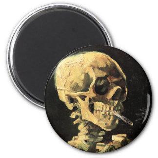 Van Gogh Skull with Burning Cigarette Magnet