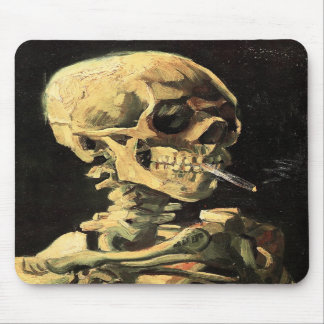 Van Gogh Skull with Burning Cigarette Mouse Pad