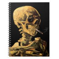 Van Gogh Skull With Burning Cigarette Notebooks