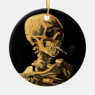 Van Gogh Skull With Burning Cigarette Christmas Ornaments