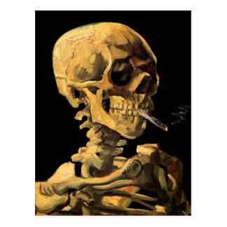 Van Gogh Skull With Burning Cigarette Post Card