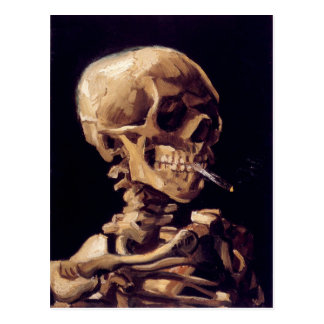 Van Gogh Skull with Burning Cigarette Postcard
