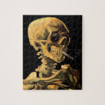 Van Gogh Skull With Burning Cigarette Jigsaw Puzzles