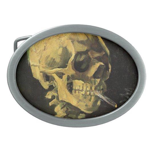 Van Gogh Skull with Burning Cigarette, Vintage Art Belt Buckle