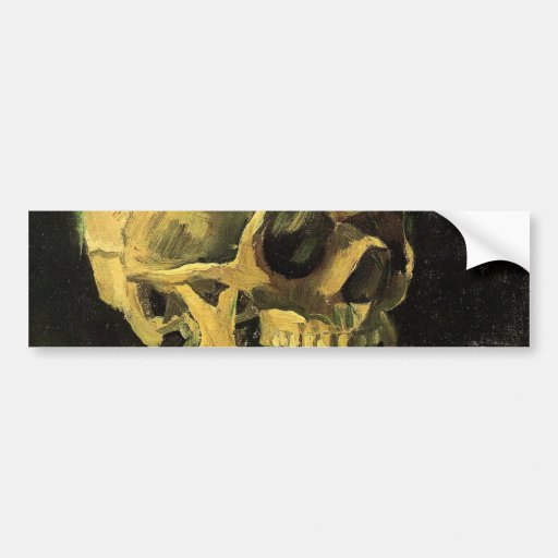Van Gogh Skull with Burning Cigarette, Vintage Art Bumper Stickers