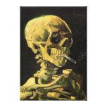 Van Gogh Skull with Burning Cigarette, Vintage Art Canvas Print