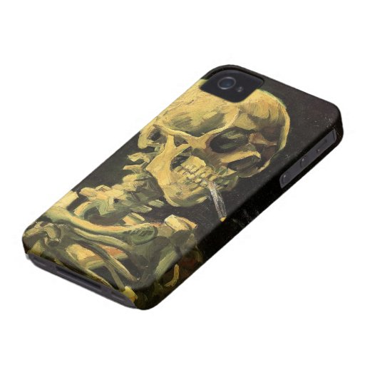 Van Gogh Skull with Burning Cigarette, Vintage Art iPhone 4 Case-Mate Case