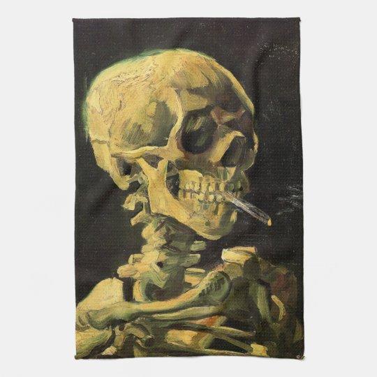 Van Gogh Skull with Burning Cigarette, Vintage Art Hand Towel