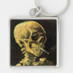 Van Gogh Skull with Burning Cigarette, Vintage Art Key Chain