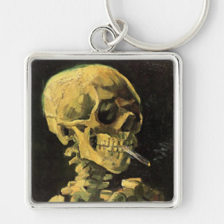 Van Gogh Skull with Burning Cigarette, Vintage Art Keychain