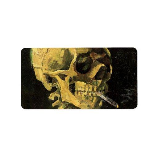 Van Gogh Skull with Burning Cigarette, Vintage Art Label