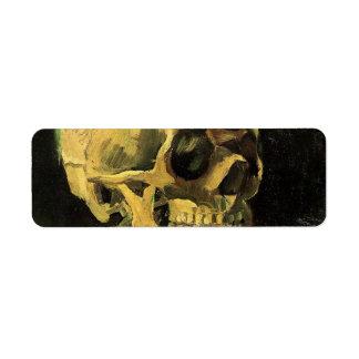 Van Gogh Skull with Burning Cigarette, Vintage Art Custom Return Address Label