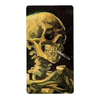 Van Gogh Skull with Burning Cigarette, Vintage Art Shipping Label
