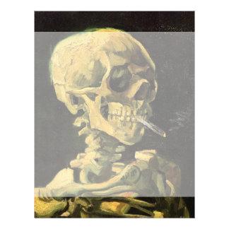 Van Gogh Skull with Burning Cigarette, Vintage Art Letterhead