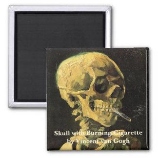 Van Gogh Skull with Burning Cigarette, Vintage Art Magnet