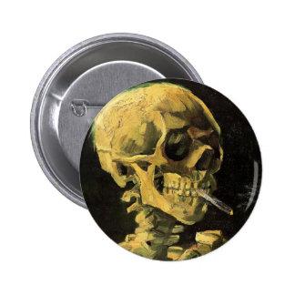 Van Gogh Skull with Burning Cigarette, Vintage Art Pinback Button