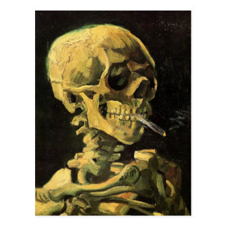 Van Gogh Skull with Burning Cigarette Vintage Art Postcard