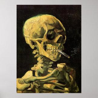 Van Gogh Skull with Burning Cigarette, Vintage Art Poster